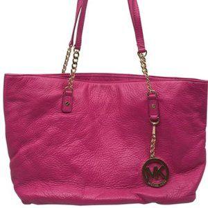 Michael Kors Pink Large Grain Leather Tote Bag